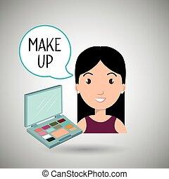 fazer, mulher, cima, cosmético