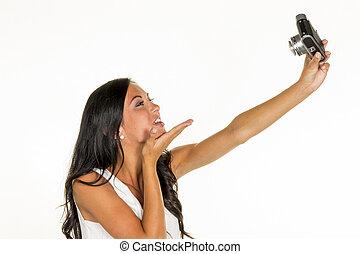 fazer, mulher, selfi