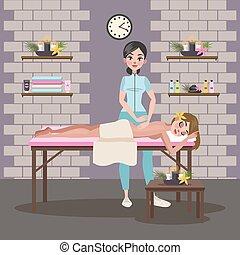 fazer, mulher, senhora, jovem, massagem