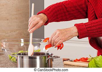 fazer, mulher, sopa