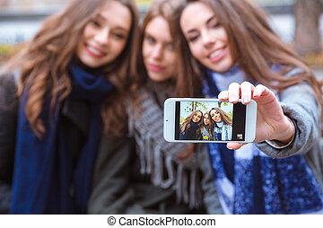 fazer, namoradas, selfie, sorrindo, foto