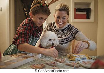 fazer, natal, biscoitos, com, mum