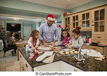 fazer, natal, biscoitos, com, pai