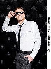 fazer, negócio, laço, bonito, camisa, óculos de sol, good., ...