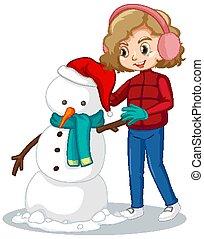 fazer, neve, boneco neve, campo, cute, menina