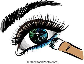 fazer, olho mulher, cima, ilustração