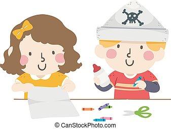 fazer, papel, pirata, chapéus, creions, crianças, ilustração