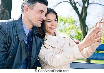 fazer, par, feliz, selfie, foto