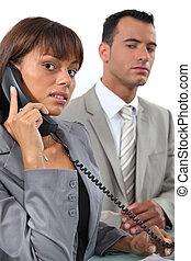 fazer, par, importante, chamada, negócio
