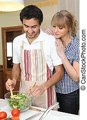 fazer, par, salada