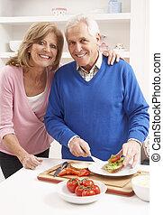 fazer, par, sanduíche, sênior, cozinha