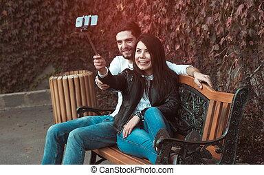 fazer, par, selfie