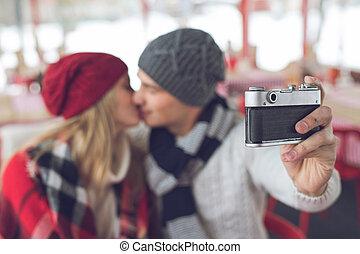 fazer, par, selfie, jovem