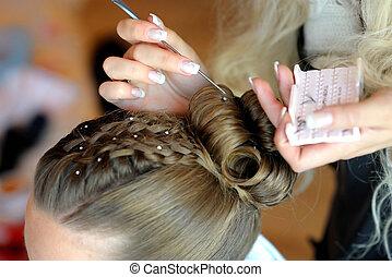 fazer, penteado, woman\'s, mãos