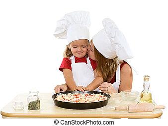 fazer, pequeno, menina mulher, pizza