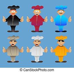 fazer, polegares cima, cozinheiro, uniforme, sinal