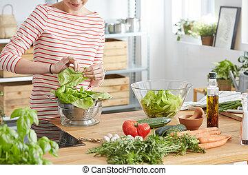 fazer, saudável, salada