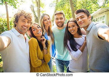fazer, selfie, amigos, foto, ao ar livre