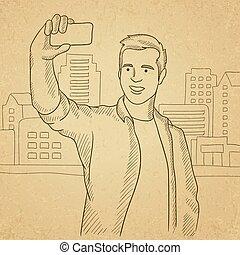 fazer, selfie., homem