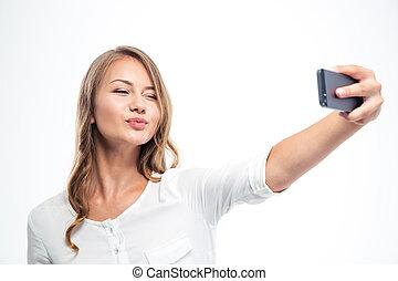 fazer, selfie, mulher, feliz, foto
