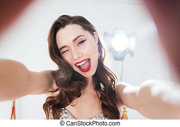 fazer, selfie, mulher, foto
