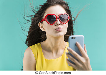 fazer, selfie, telefone