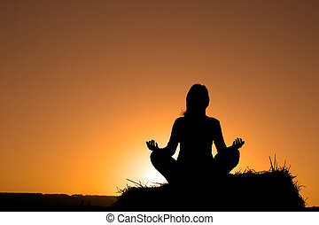fazer, silueta, mulher, ioga
