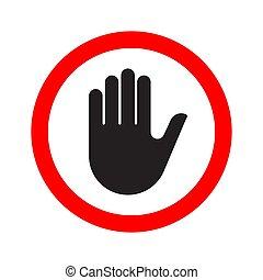 fazer, sinal, parada, símbolo, mão