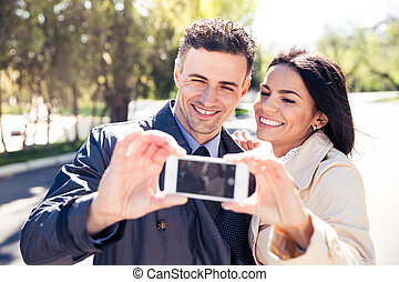fazer, sorrindo, par, selfie, foto