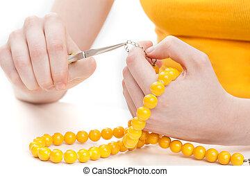 fazer, um, amarela, colar