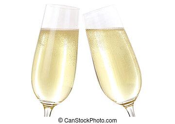fazer, um brinde, com, dois, óculos champanha