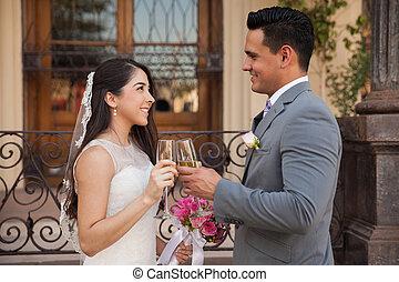 fazer, um brinde, ligado, seu, casório