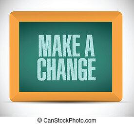 fazer, um, mudança, sinal, ilustração, desenho