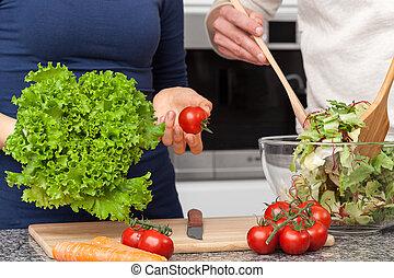 fazer, um, salada