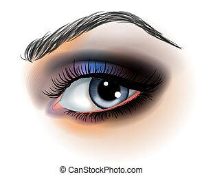 fazer, vetorial, olho, cima, ilustração