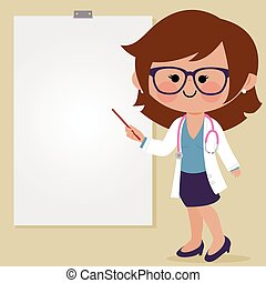 fazer, vetorial, presentation., ilustração, doutor