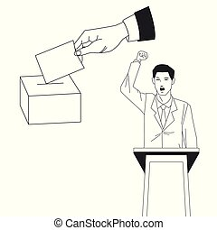 fazer, votando, fala, homem, mão
