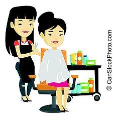 fazer, woman., corte cabelo, jovem, cabeleireiras