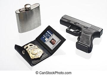 fbi, abzeichen, flasche, und, gewehr