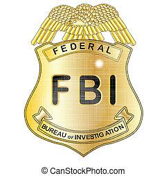 A gold FBI badge isolatrd over a white background