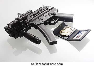 fbi, badge, en, geweer