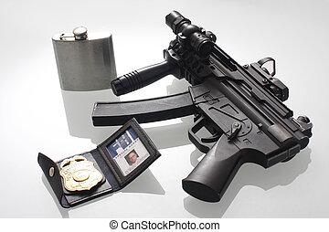 FBI Badge, flask, and gun