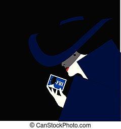 fbi, ella, ilustración, actuación, agente, identificación