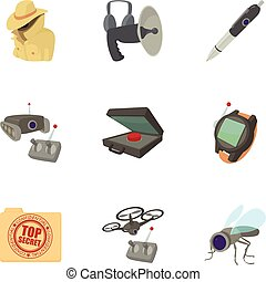 Fbi icons set, cartoon style