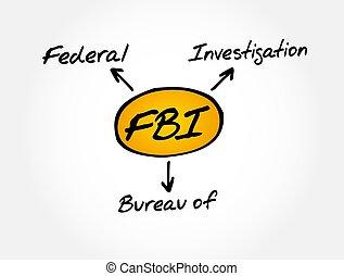 fbi, investigación, -, concepto, siglas, oficina, federal