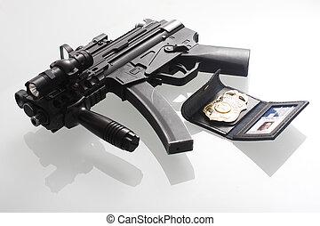 fbi, jelvény, és, pisztoly