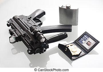 fbi, jelvény, flaska, és, pisztoly