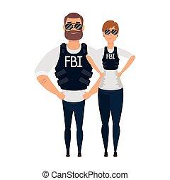 fbi, joven, agentes, caracteres, pareja