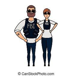 fbi, pareja, agentes, caracteres, joven