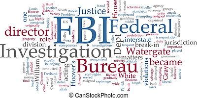 Word cloud concept illustration FBI Federal Bureau of Investigation